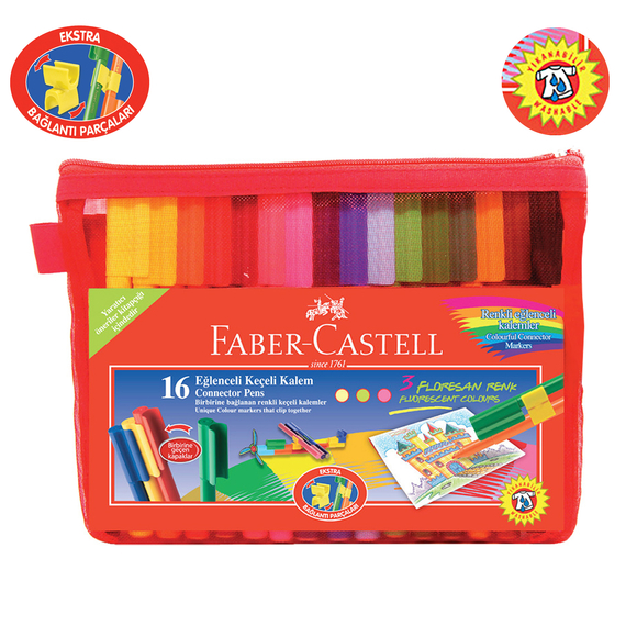 Faber Castell Eğlenceli Çantalı Keçeli Kalem 16 Renk