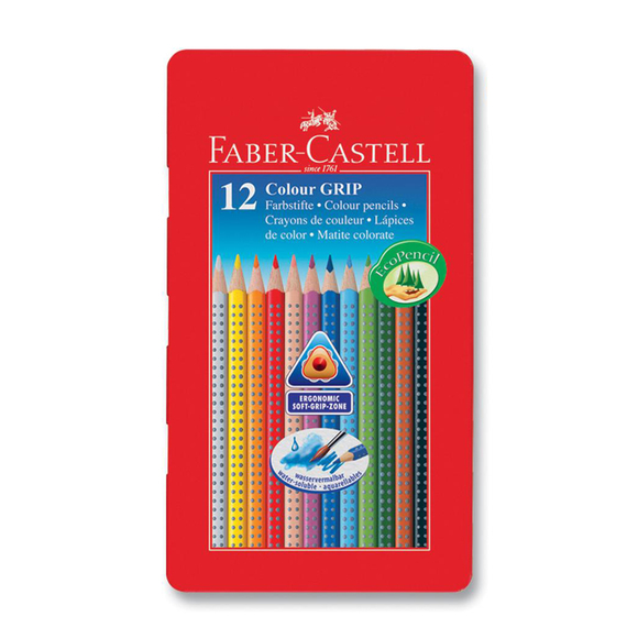 Faber Castell Grip 2001 Kuru Boya Kalemi Metal Kutu 12 Renk