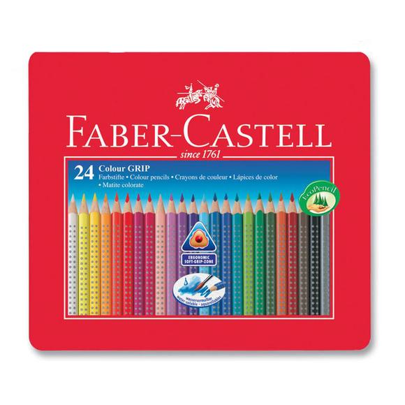 Faber Castell Grip 2001 Kuru Boya Kalemi Metal Kutu 24 Renk