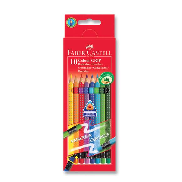 Faber Castell Grip 2001 Silinebilir Kuru Boya Kalemi 10 Renk