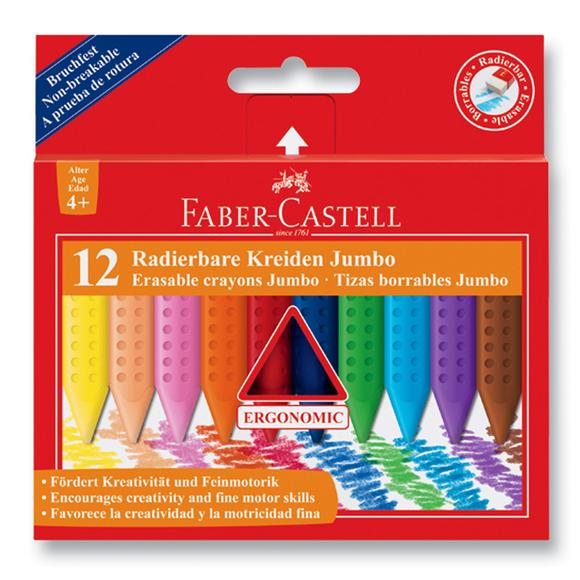 Faber Castell Grip Jumbo Silinebilir Mum Boya 12 Renk 122540