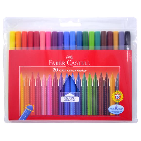 Faber Castell Grip Keçeli Kalem 20 Renk Poşet