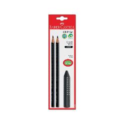 Faber-Castell Grip Kurşun Kalem Siyah+Silgi 2+1 Blister - Thumbnail