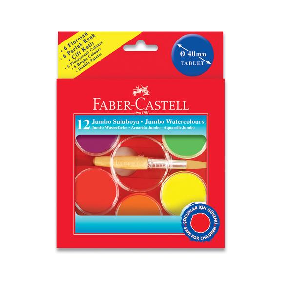 Faber Castell Jumbo Suluboya 40 mm 12 Renk