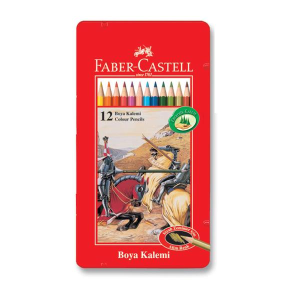 Faber Castell Kuru Boya Kalemi Metal Kutu 12 Renk