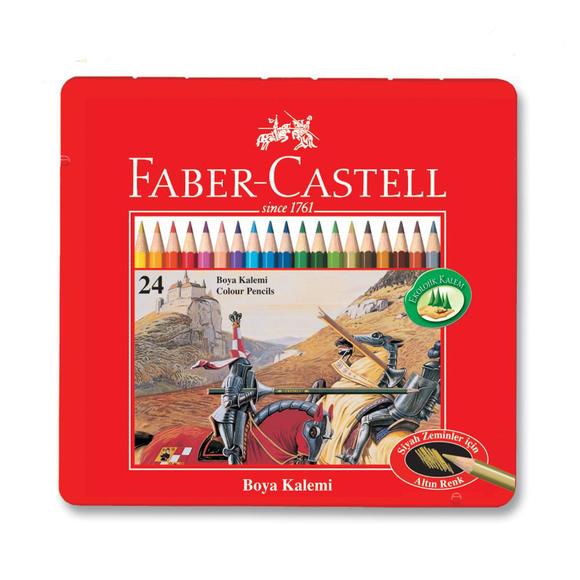 Faber Castell Kuru Boya Kalemi Metal Kutu 24 Renk