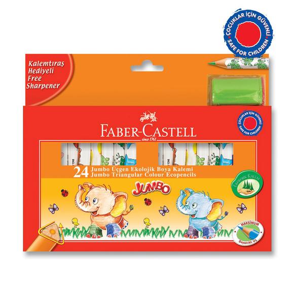 Faber Castell Natürel Jumbo Üçgen Natürel Gövde Boya Kalemi 24 Renk 3/4 Boy