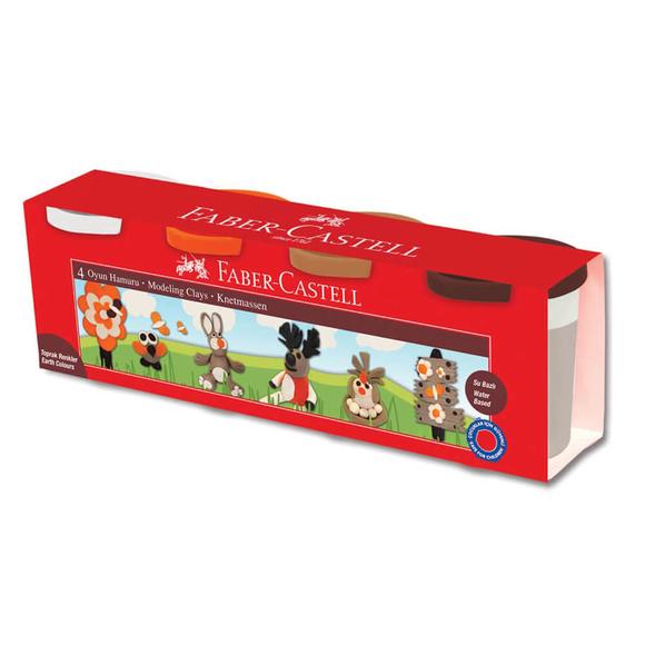 Faber Castell Oyun Hamurları Toprak Renkler 4'lü Set 120046