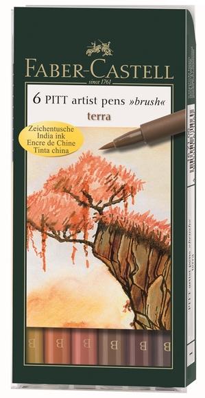 Faber Castell Pitt Çizim Kalemi Fırça Uç Toprak 6'lı 167106
