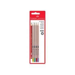 Faber-Castell Retro Silgili Kurşun Kalem+1 Kırmızı Kalem 5 li Blister - Thumbnail