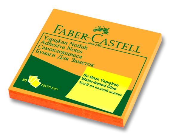 Faber Castell Yapışkan Notluk 75x75mm 80 Sayfa Fosforlu Turuncu