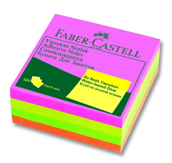 Faber Castell Yapışkanlı Not Kağıdı 75x75 mm 100 Sayfa Fosforlu Renk