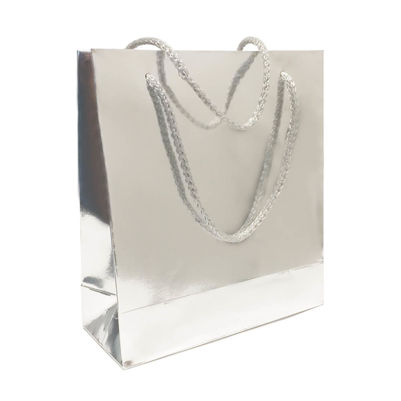 Fresia Karton Poşet Metalize Gümüş Parlak 20x22 cm