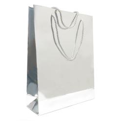 Fresia Karton Poşet Metalize Gümüş Parlak 24x30 cm - Thumbnail