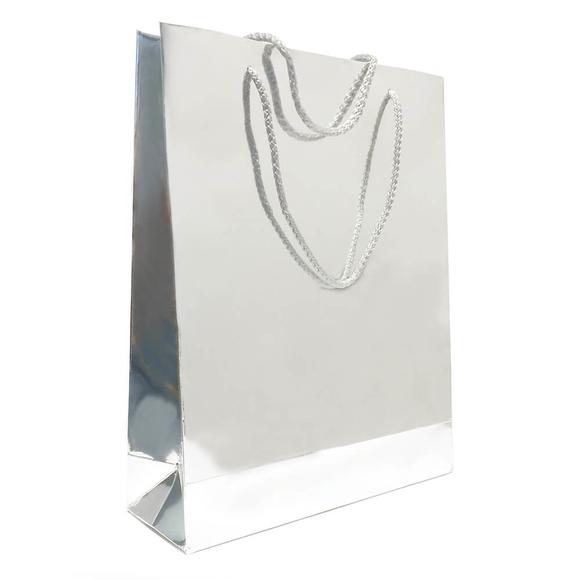 Fresia Karton Poşet Metalize Gümüş Parlak 24x30 cm