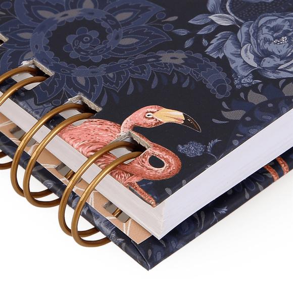 Fulique Flamingo Spiralli Noktalı Defter 14.8x21cm
