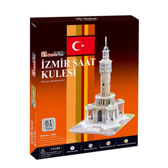 İzmir Saat Kulesi 61 Parça 3D Puzzle C168H
