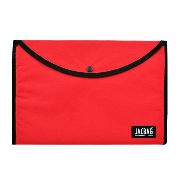 Jacbag Çıtçıtlı Kumaş Zarf Dosya A4 Kırmızı