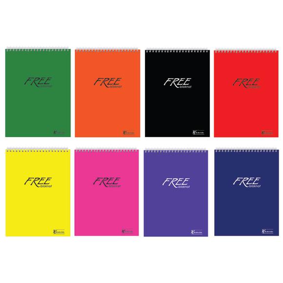 Keskin Color Free Office Çizgili Spiralli Bloknot A5 100 Yaprak 145101-99