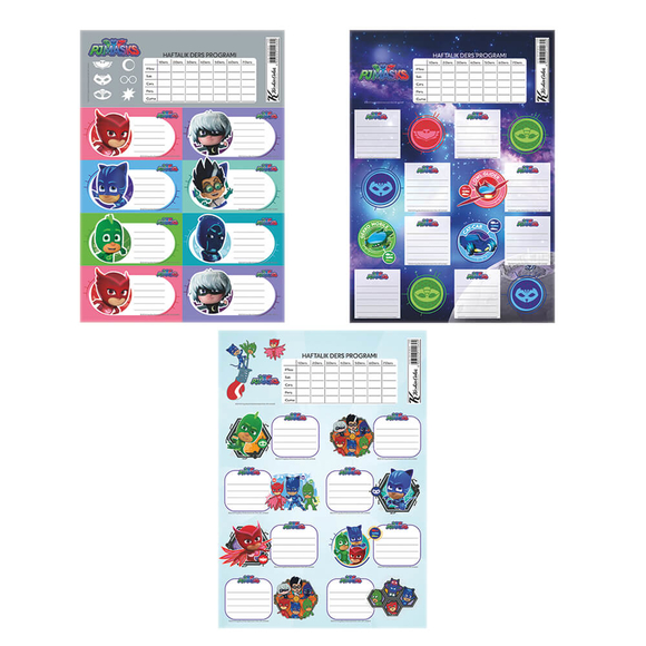 Keskin Color Pijamaskeliler Ders Programlı Okul Etiketi 220130-88