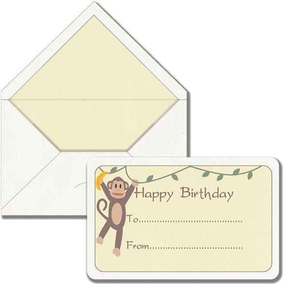 Maritera Safari Maymun Happy Birthday Baskılı Tebrik Kartı