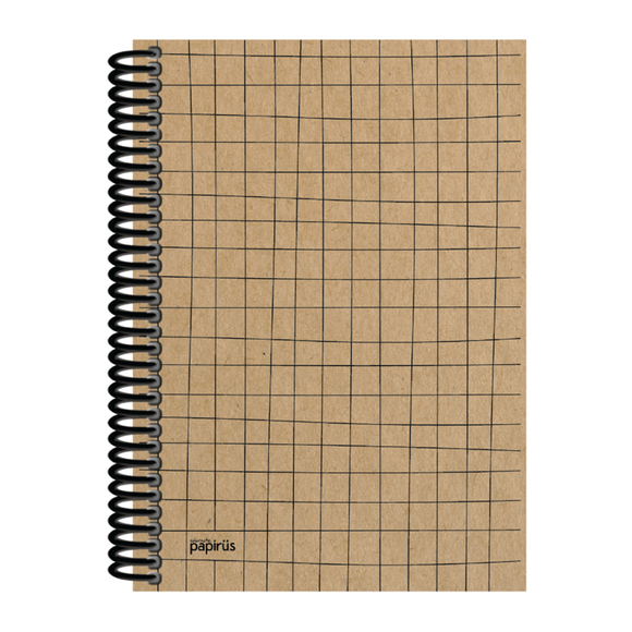 Papirüs Kraft Sert Kapak Defter 100yp 17x24cm Kareli