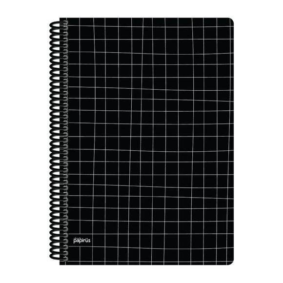 Papirüs Mini Sert Kapak Defter Siyah 100yp 17x24cm Kareli