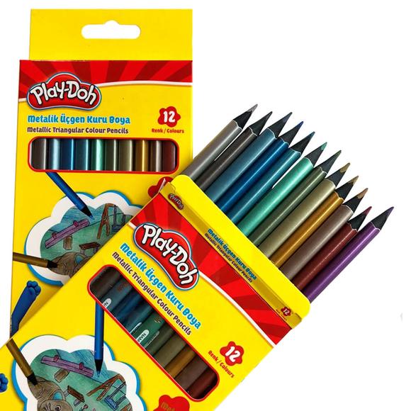 Play-Doh Üçgen Kuru Boya Kalemi Metalik Siyah Lata 12 Renk PLAY-KU025
