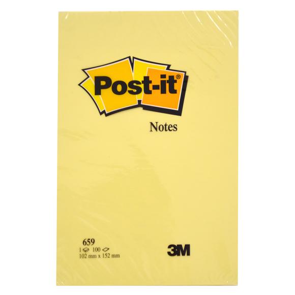 Post-it Düz 100 Yaprak Büyük Boy Not Sarı 102x152 mm 659