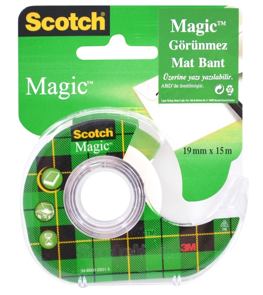 Scotch Magic Görünmez Mat Bant Kesicili 19 mm x 15 m 8-1915D