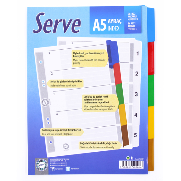 Serve Ayraç A5 1-5 Rakam SV-5322