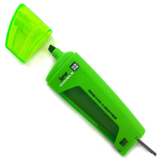 Serve Double Fosforlu Kalem + Kalem Ucu 2B 0.5 mm Yeşil