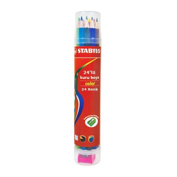 Stabilo Color Kuru Boya 24'lü Plastik Tüp (Kalemtıraşlı) 1224/77-PT