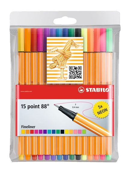 Stabilo Point 88 Askılı Paket 15 Renk (Neon) 8815-1