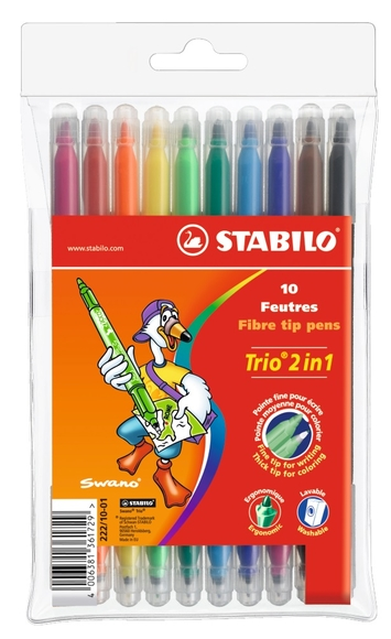 Stabilo Trio 2in1 Çift Uçlu Keçeli Kalem 10 Renk 222/10-01
