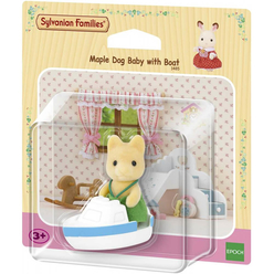 Sylvanian Families Maple Dog Baby With Boat ESE5137 - Thumbnail