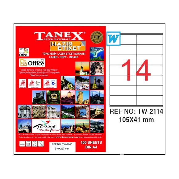 Tanex Bilgisayar Etiketi 105x41 mm
