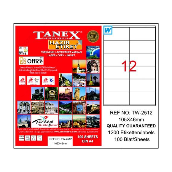 Tanex Bilgisayar Etiketi 105x46 mm