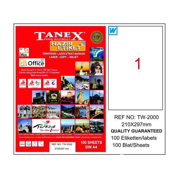 Tanex Bilgisayar Etiketi 210x297 mm