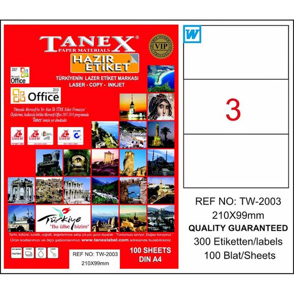 Tanex Bilgisayar Etiketi 210x99 mm Tw-2003