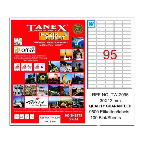 Tanex Bilgisayar Etiketi 30x12 mm