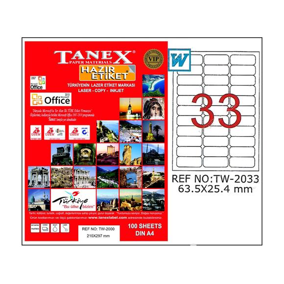 Tanex Bilgisayar Etiketi 63.5x25.4 mm