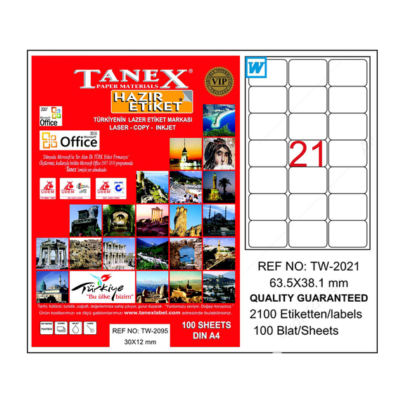 Tanex Bilgisayar Etiketi 63.5x38.1 mm