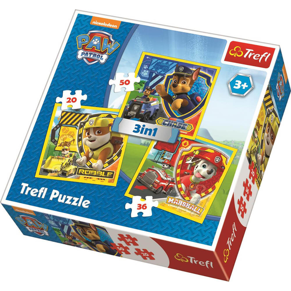 Trefl Paw Patrol Marshall, Rubble And Chase 3'lü Puzzle Seti 34839