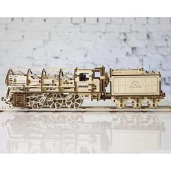 Ugears 3D Ahşap Puzzle Vagonlu Buharlı Lokomotif 70012 - Thumbnail