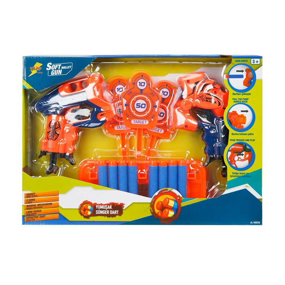 Zapp Toys Hedefli Sünger Dart Atan 2'li Silah 8 Dartlı S00001374
